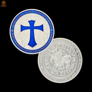 BLUE TEMPLAR KNIGHT CRUSADER TOKEN SILVER PLATED METAL SOUVENIR COIN COLLECTION