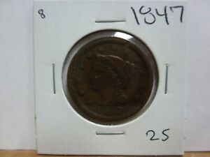 1847 DRAPED BUST LARGE CENT 8