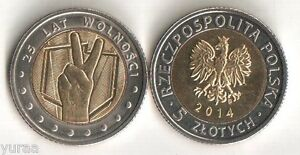 POLAND   5 ZLOTYCH 2014 COIN UNC 25 YEARS OF FREEDOM