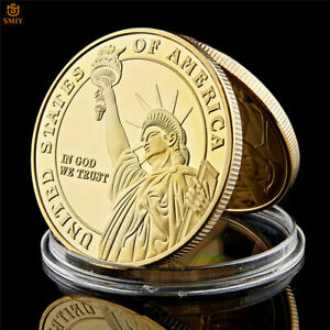 NEW YORK STATUE OF LIBERTY FREE MEDAL OF HONOR 24K GOLD PLATED COIN COLLECTION