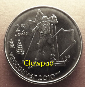CANADA COIN .25C VANCOUVER 2010 WINTER OLYMPIC GAMES CROSS COUNTRY SKIING  UNC