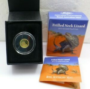 2013 $2 FRILLED NECK LIZARD GOLD 99.99  COIN 1/2 GRAM ROYAL AUSTRALIAN MINT
