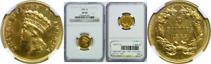 1885 $3 GOLD COIN NGC AU 58
