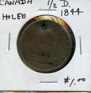 HOLED  1844 CANADA 1/2 PENNY BANK TOKEN FC44