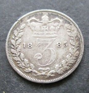1885 .925 SILVER THREEPENCE 3D COIN  QUEEN VICTORIA   FREE UK POSTAGE