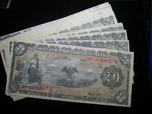 1914 MEXICO PROVISIONAL VERACRUZ 20 PESO BANKNOTE NICE ABOUT UNCIRCULATED