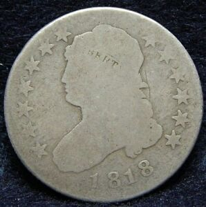 1818 CAPPED BUST SILVER QUARTER LOW MINTAGE