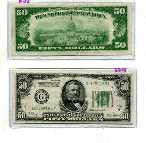 1928 A $50 CHICAGO ILLINOIS CURRENCY NOTE AU 62M