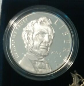 2009 ABRAHAM LINCOLN PROOF SILVER DOLLAR WITH U.S MINT BOX & COA