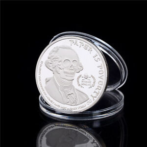 AMERICAN SKULL GHOST MONEY SILVER PLATED COMMEMORATIVE COIN COLLECTION GIFT FS