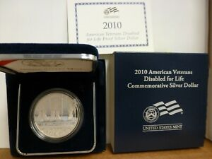 2010 W AMERICAN VETERANS DISABLED FOR LIFE SILVER DOLLAR PROOF COA & OGP