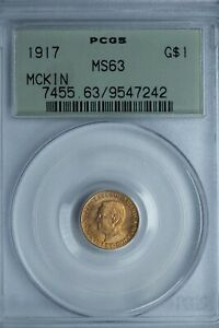 1917 MCKINLEY COMMEMORATIVE GOLD $1 PCGS MS63 OGH