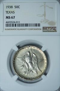 1938 TEXAS SILVER COMMEMORATIVE HALF DOLLAR NGC MS67  AT THIS GRADE