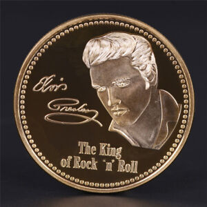 ELVIS PRESLEY 1935 1977 THE KING OF N ROCK ROLL GOLD ART COMMEMORATIVE COIN