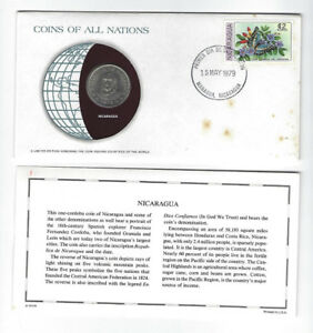 COINS OF ALL NATIONS SERIES NICARAGUE 1 CORDOBA SEALED COA CARD COIN & STAMP