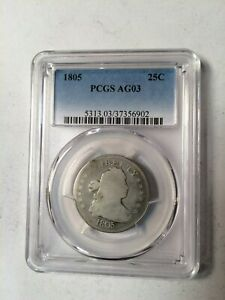 US 1805 QUARTER   PCGS AG03 SHARP DATE AND STARS NICE COIN