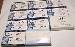Click now to see the BUY IT NOW Price! 1999 2000 2001 2002 2003 2004 2005 2006 2007 2008 2009 PROOF SET W QUARTER COA