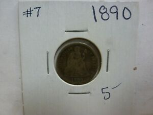1890 SEATED LIBERTY SILVER DIME 7