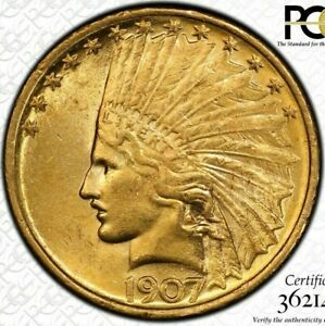 1907 $10 NO MOTTO GOLD INDIAN HEAD EAGLE PCGS MS62