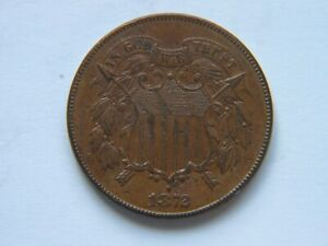 1872 2C BN TWO CENT PIECE XF