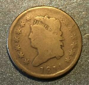 1814 CLASSIC HEAD LARGE CENT   LOWER MINTAGE   NICE  TYPE COIN