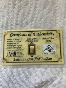 ACB GOLD 5 GRAIN BULLION MINTED BARS 9999 FINE CERTIFICATE OF AUTHENTICITY