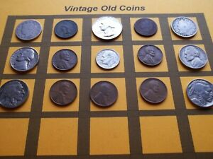 VINTAGE LOT OF OLD COINS 50 TO 125 YEARS OLD WITH SOME SILVER  15 COINS   OC85