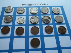 ESTATE LOT OF OLD COINS 50 TO 125 YEARS OLD WITH SOME SILVER  16 COINS   OC31