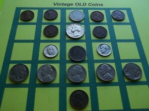 ESTATE LOT OF OLD COINS 50 TO 125 YEARS OLD WITH SOME SILVER  16 COINS   OC5