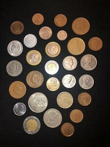 FOREIGN CURRENCY LOT ALL ARE CIRCULATED 29 COINS IN TOTAL AND 1 FOREIGN BILL