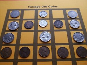 VINTAGE LOT OF OLD COINS 50 TO 125 YEARS OLD WITH SOME SILVER  16 COINS   OC86