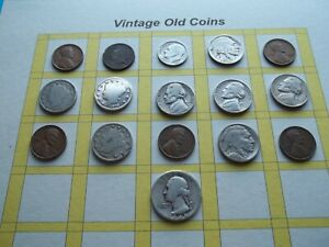 ESTATE LOT OF OLD COINS 50 TO 125 YEARS OLD WITH SOME SILVER  16 COINS   OC21