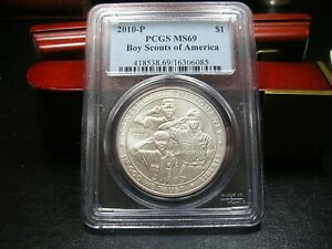 2010 P BOY SCOUTS OF AMERICA SILVER DOLLAR  PCGS MS69