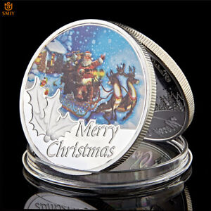 CHRISTMAS GIFTS SANTA CLAUS AND SNOW DEER SILVER PLATED METAL COIN COLLECTION