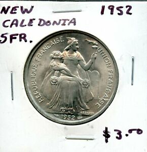1952 NEW CALEDONIA 5 FRANCS COIN FH663