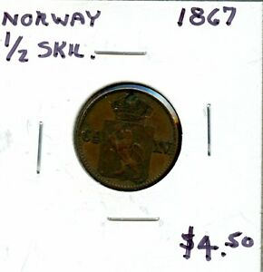 1867 NORWAY 1/2 SKILLING  FH666