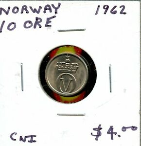 1962 NORWAY 10 ORE COIN  FH671