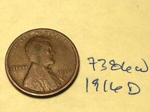 1916 D 1C BN LINCOLN CENT 7386W WHEAT PENNY