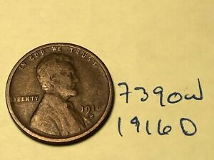 1916 D 1C BN LINCOLN CENT 7390W WHEAT PENNY