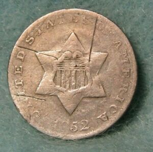 1852 THREE CENT SILVER GOOD DETAILS   US COIN 3789