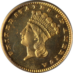1884 INDIAN PRINCESS GOLD $1 PROOF HW BASS JR COLLECTION PCGS PR66 STRONG STRIKE