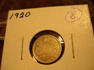 1920   CANADA   SILVER FIVE CENT   CIRCULATED NICKEL   NICE COIN