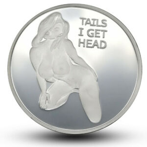SILVER PLATED HEADS TAILS SEXY LADY COMMEMORATIVE CHALLENGE COIN COLLECTION