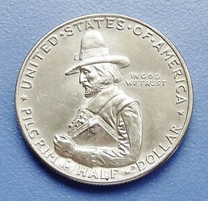 1920 PILGRIM   COMMEMORATIVE SILVER HALF DOLLAR   ALMOST UNCIRCULATED   CLEANED