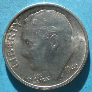 1946 S ROOSEVELT DIME XF   SILVER FROM A 1958 SET  '
