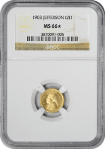 Click now to see the BUY IT NOW Price! 1903 LOUISIANA PURCHASE   JEFFERSON $1 GOLD MS66  NGC