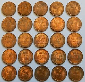 1940 D   LINCOLN WHEAT CENTS   BU   LOT OF 25