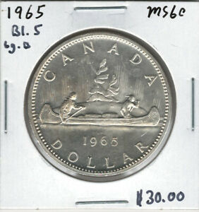 CANADA 1965 SILVER DOLLAR $1 BLUNT 5 LARGE BEADS MS60