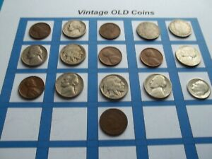 ESTATE LOT OF OLD COINS 50 TO 125 YEARS OLD WITH SOME SILVER  16 COINS   OC40