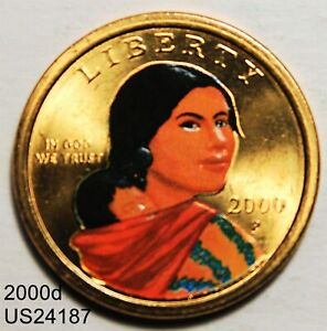2000 P SACAGAWEA DOLLAR COLORIZED PORTRAIT  IN UNITED STATES